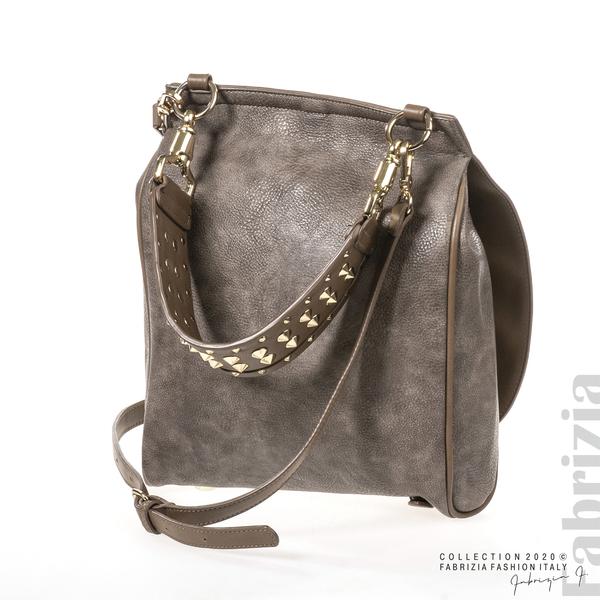 Дамска чанта с капси на дръжката пепел от мляко с какао 1 fabrizia