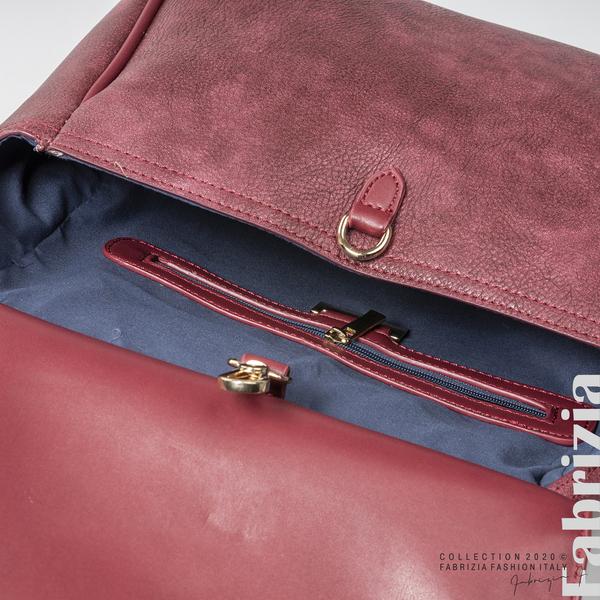 Дамска чанта с капси на дръжката пепел от червен 4 fabrizia