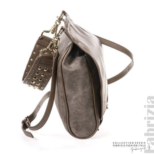 Дамска чанта с капси на дръжката пепел от мляко с какао 3 fabrizia