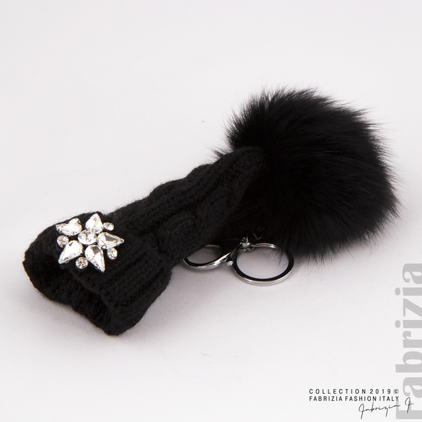 Ключодържател плетена шапка с помпон черен 1 fabrizia