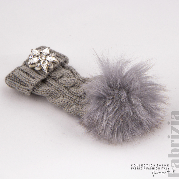 Ключодържател плетена шапка с помпон сив 2 fabrizia