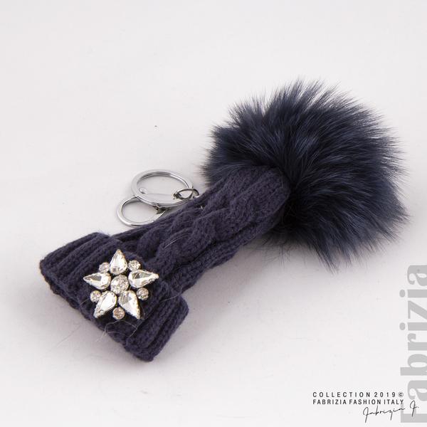 Ключодържател плетена шапка с помпон т.син 2 fabrizia