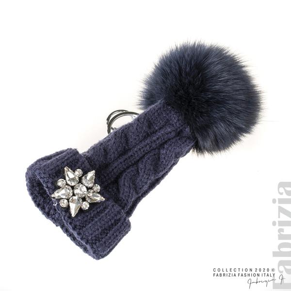 Ключодържател плетена шапка с помпон т.син 1 fabrizia