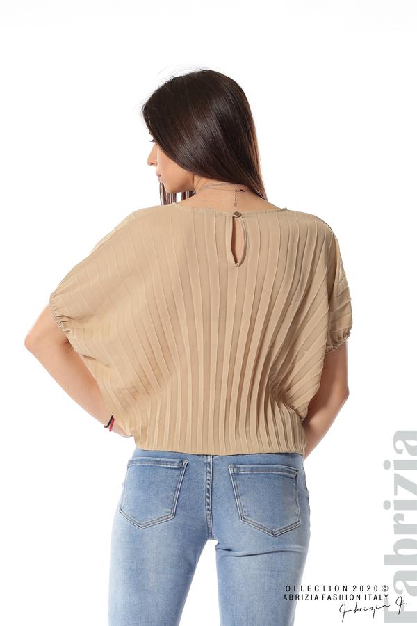 Ефирна блуза солей с аксесоар бежов 5 fabrizia