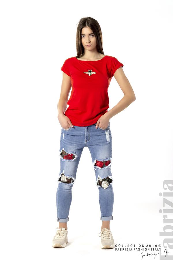 Дамска блуза с бродерия червен 1 fabrizia