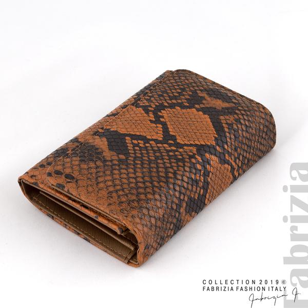 Дамско портмоне със змийска шарка кафяв 1 fabrizia