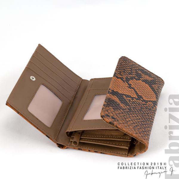 Дамско портмоне със змийска шарка кафяв 3 fabrizia