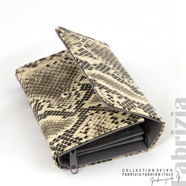 Дамско портмоне със змийска шарка сив 1 fabrizia