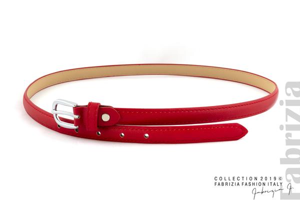 Тесен колан със сребриста катарама червен 1 fabrizia