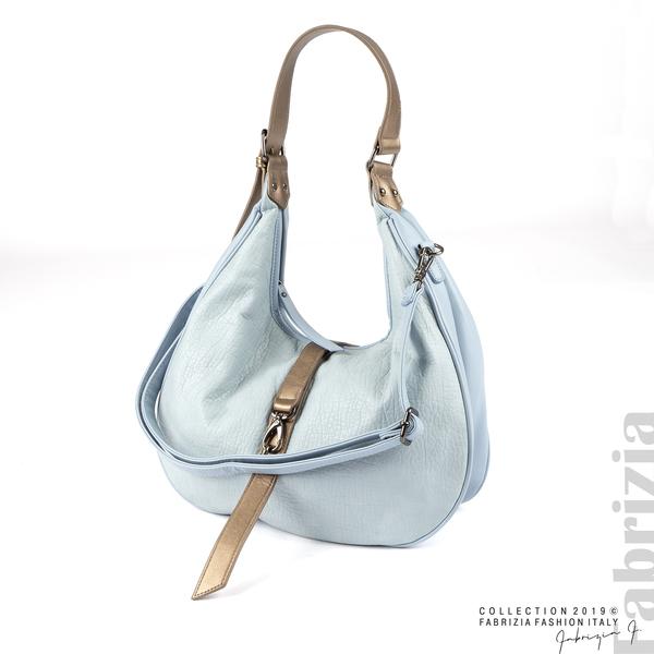Чанта със златисто кафяви елементи св.син 1 fabrizia