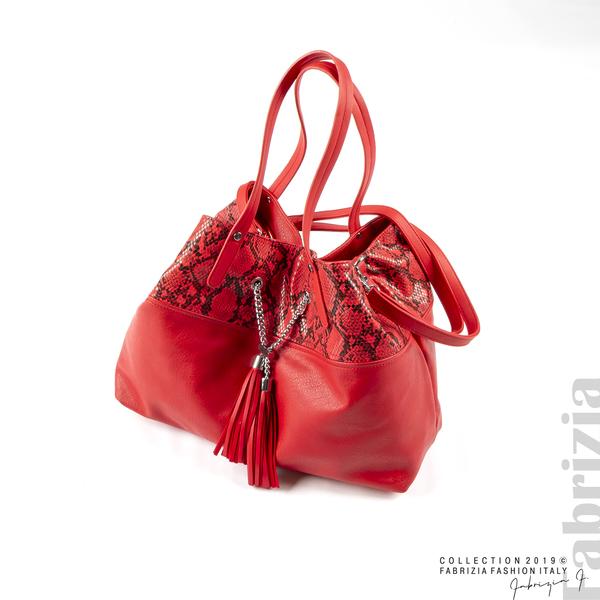Дамска чанта с животински принт червен 1 fabrizia