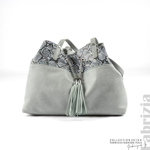 Дамска чанта с животински принт бл.син 1 fabrizia