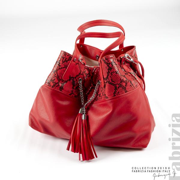 Дамска чанта с животински принт червен 3 fabrizia