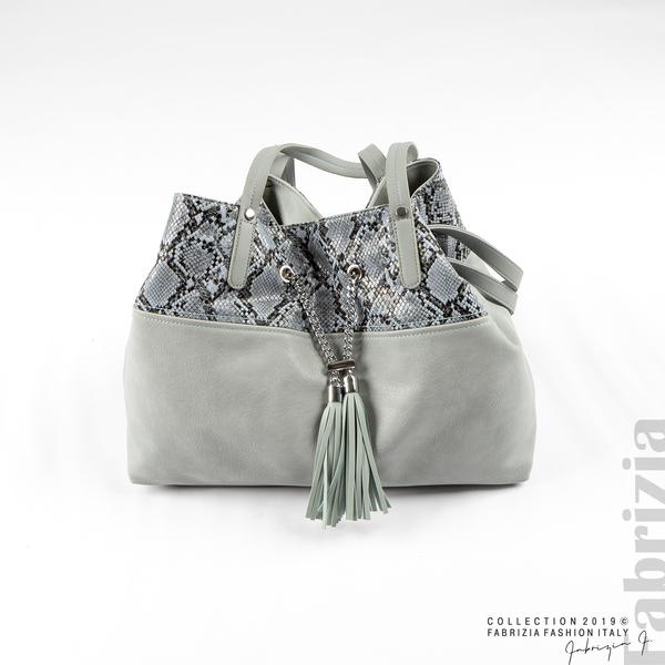 Дамска чанта с животински принт бл.син 3 fabrizia