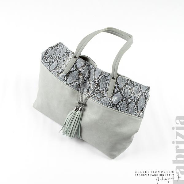 Дамска чанта с животински принт бл.син 4 fabrizia