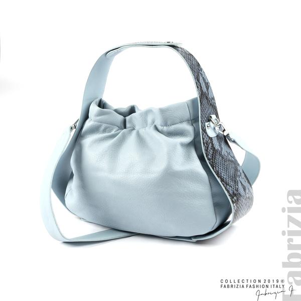 Чанта с животински принт на дръжката мляко с св.син 1 fabrizia