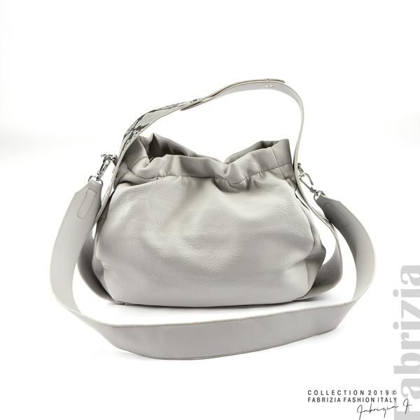 Чанта с животински принт на дръжката сив 2 fabrizia