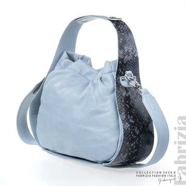Чанта с животински принт на дръжката св.син 1 fabrizia