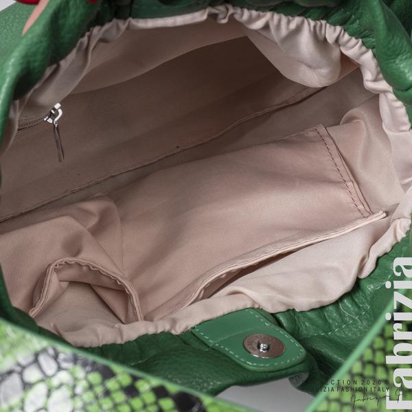 Чанта с животински принт на дръжката зелен 4 fabrizia