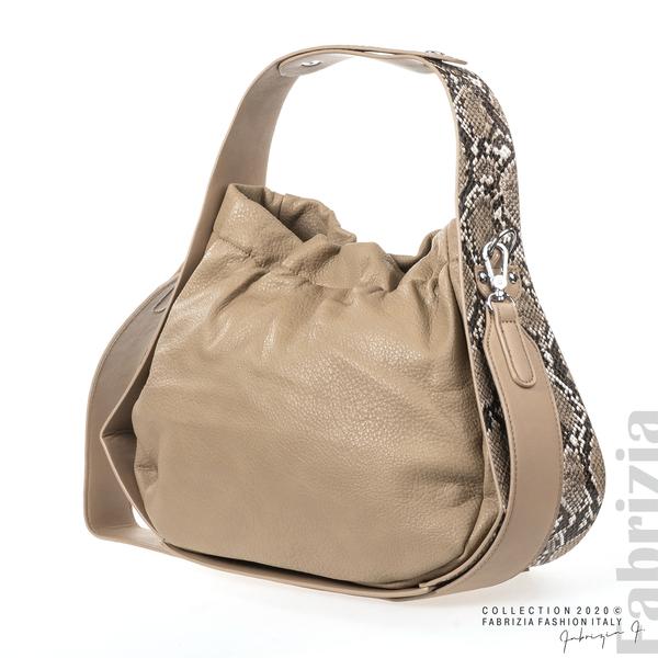 Чанта с животински принт на дръжката мляко с какао 3 fabrizia