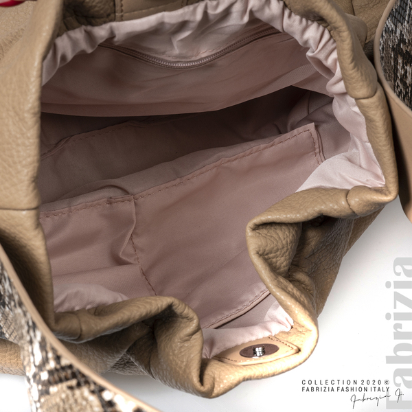 Чанта с животински принт на дръжката мляко с какао 4 fabrizia