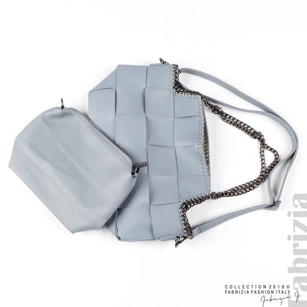 Чанта от преплетени кожени ленти бл.син 5 fabrizia