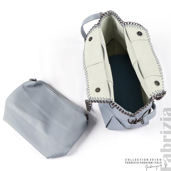 Чанта от преплетени кожени ленти бл.син 2 fabrizia