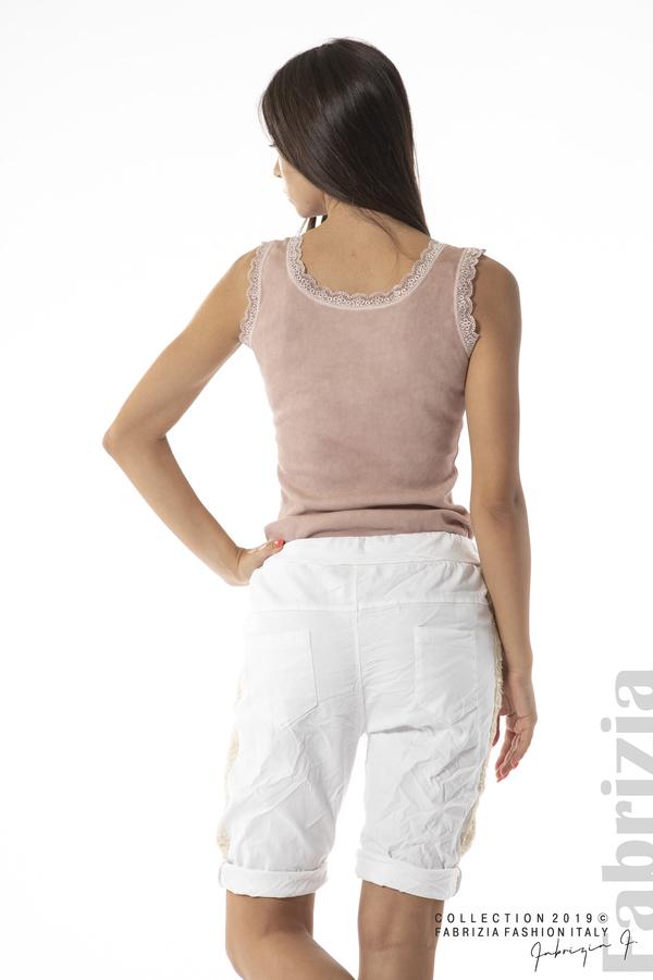 Къс панталон с навити крачоли-бял-3