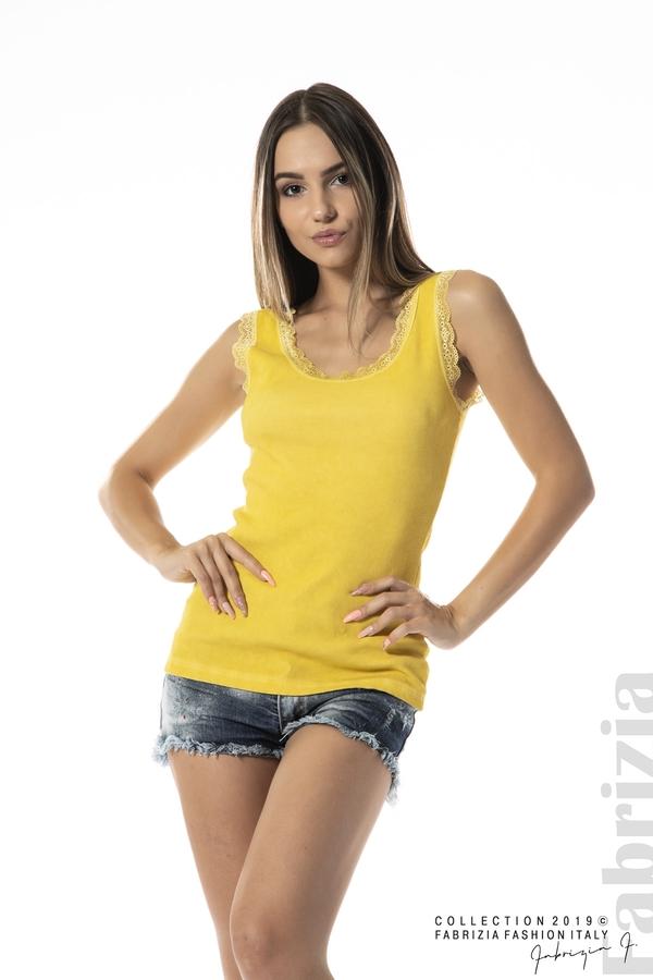 Дамски топ с дантела жълт 1 fabrizia