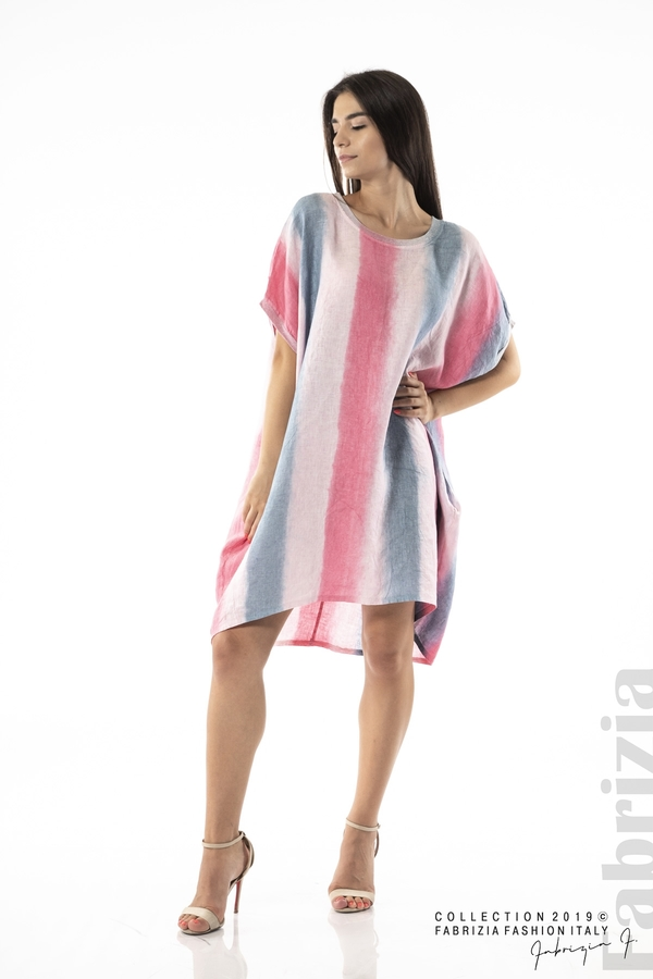 Свободна трицветна рокля с джобове циклама 2 fabrizia