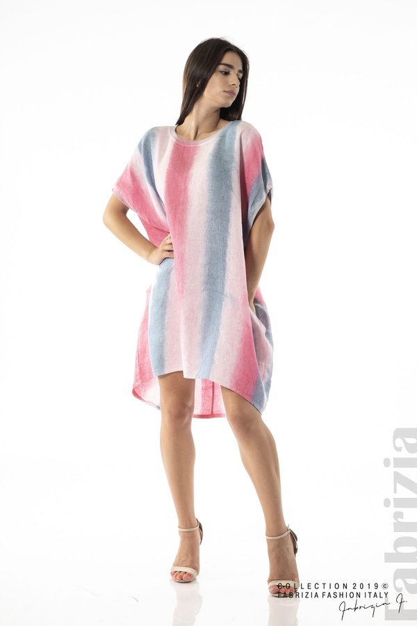 Свободна трицветна рокля с джобове циклама 3 fabrizia