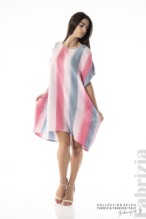 Свободна трицветна рокля с джобове циклама 4 fabrizia