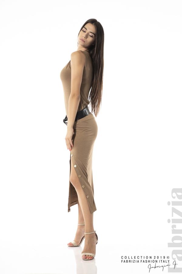 Дълга трикотажна рокля-кафяв-2
