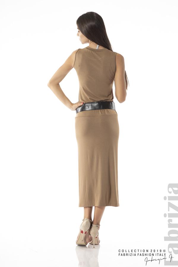 Дълга трикотажна рокля-кафяв-3