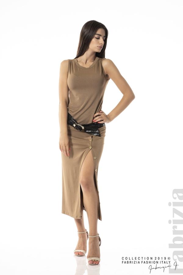 Дълга трикотажна рокля-кафяв-1