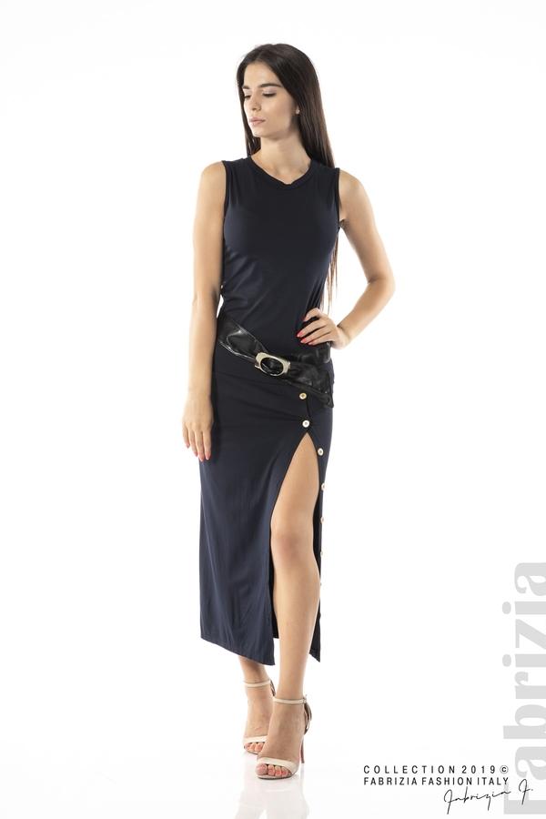 Дълга трикотажна рокля-т.син-1