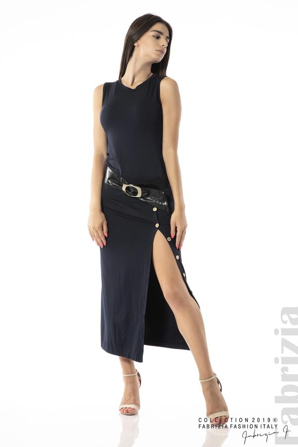 Дълга трикотажна рокля-т.син-2