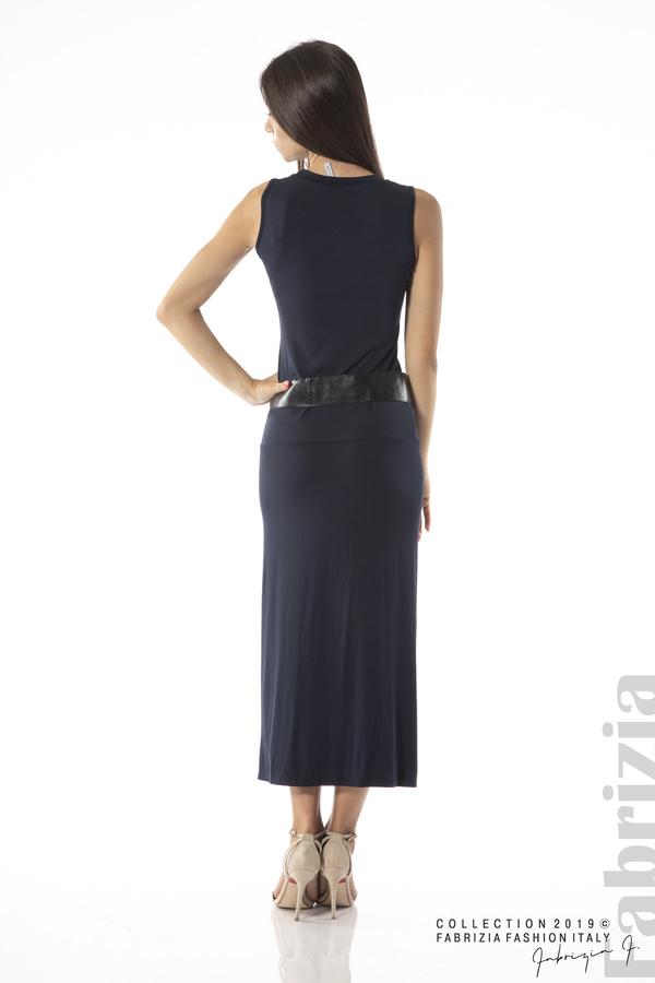 Дълга трикотажна рокля-т.син-3