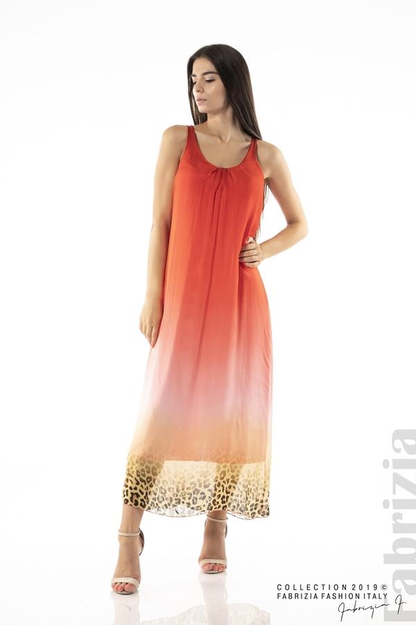 Дълга копринена рокля-червен-2