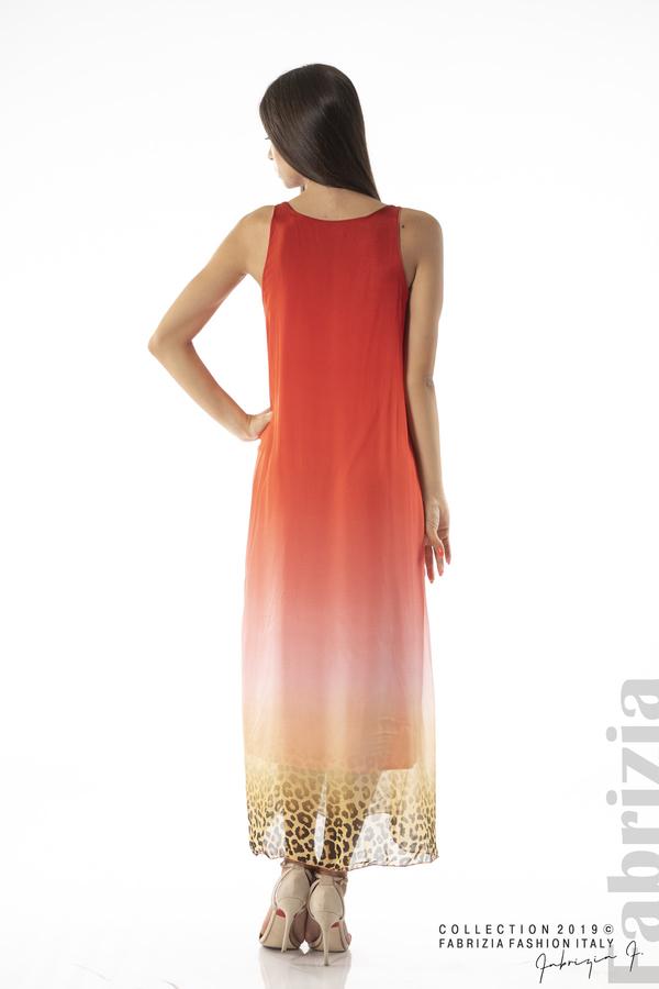 Дълга копринена рокля-червен-3