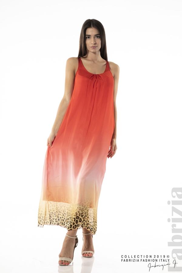 Дълга копринена рокля-червен-1