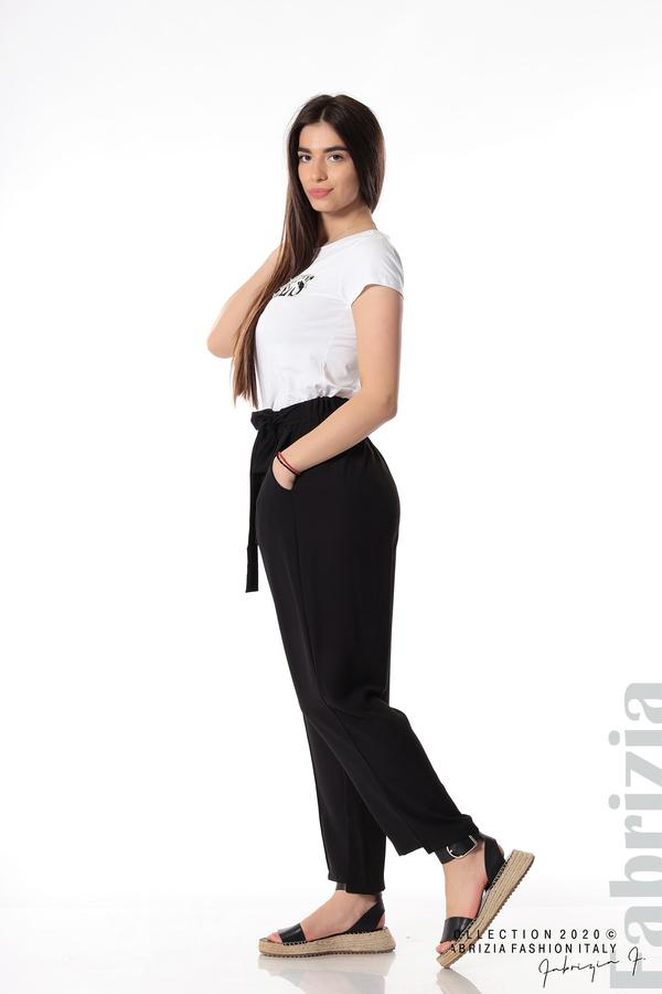 Свободен панталон с колан черен 2 fabrizia