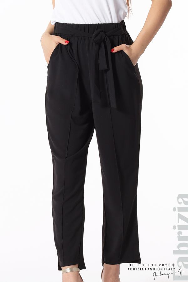 Свободен панталон с колан черен 5 fabrizia