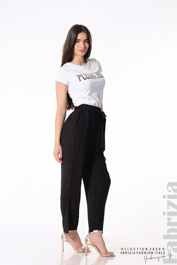 Свободен панталон с колан черен 1 fabrizia
