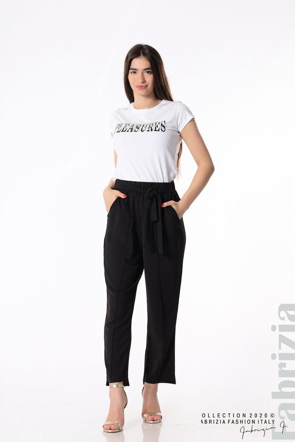 Свободен панталон с колан черен 4 fabrizia