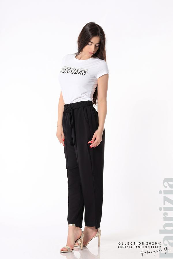 Свободен панталон с колан черен 7 fabrizia