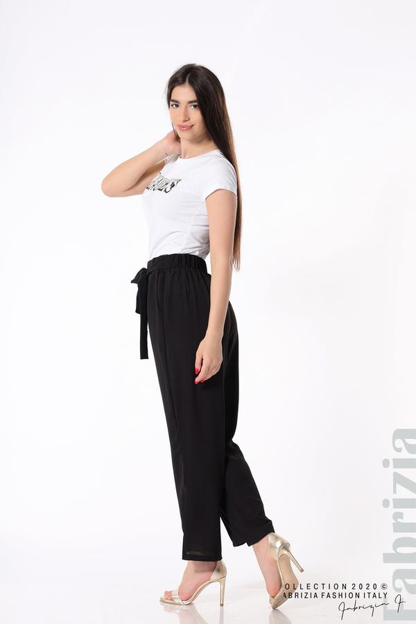 Свободен панталон с колан черен 6 fabrizia