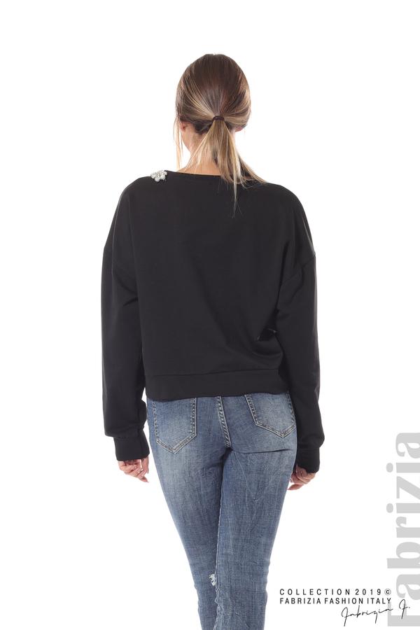 Блуза с камъни на деколтето черен 6 fabrizia