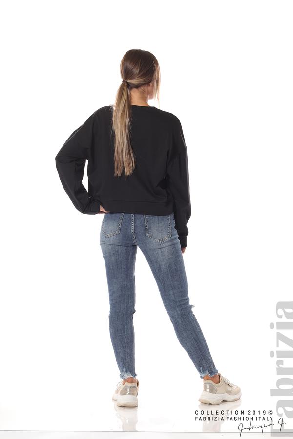 Блуза с камъни на деколтето черен 5 fabrizia