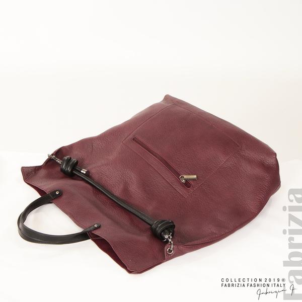 Голяма дамска чанта бордо 4 fabrizia